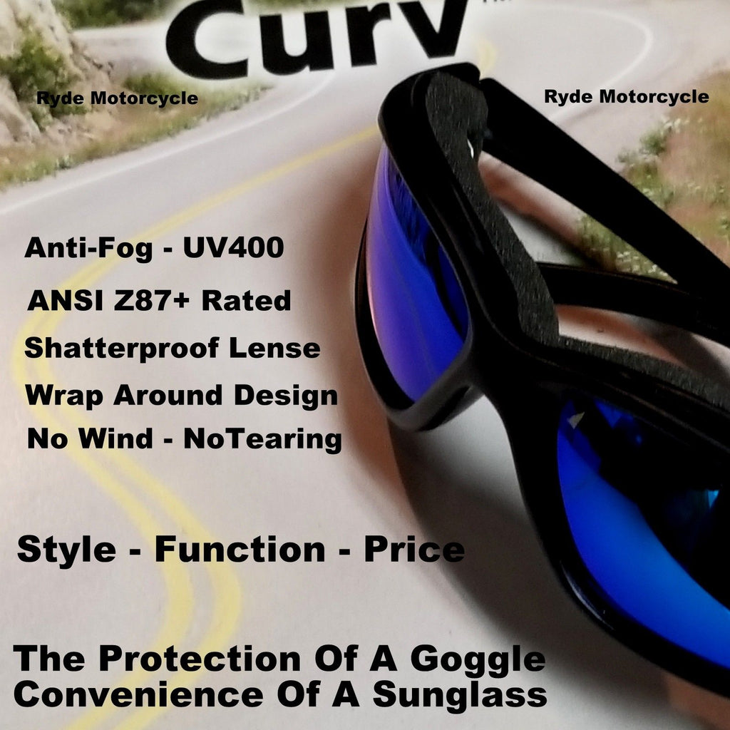 Curv Z Blue Mirror Lens Motorcycle Biker Sunglass No Wind Anti-Fog 02-19
