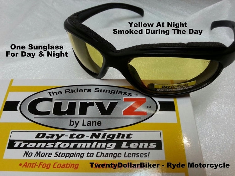 New Curve Z Yellow to Smoke Transitional Self Changing Motorcycle Sunglass 02-31