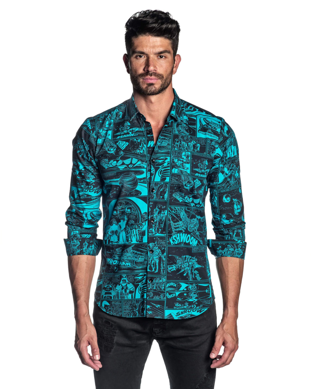 Comic blue printed button down, Jared Lang