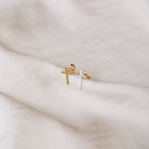 Baby Cross Studs, M16 Jewelry