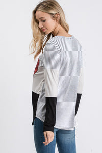 Beautiful Heart Color Block Top