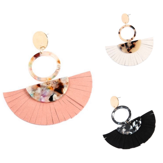 Calissa Fringe Leather Earrings | Black, White or Pink