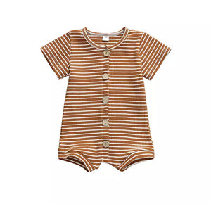 Caden | Brown Striped Romper
