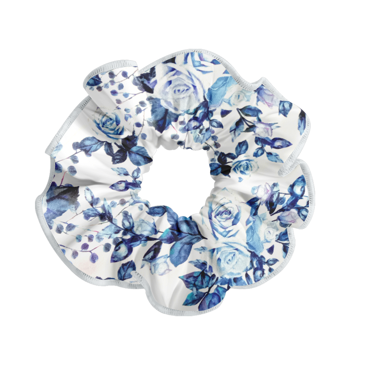 PATTERNED SCRUNCHIE BLUE