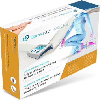 Dermadry's iontophoresis machine that treats hands and feet