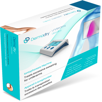 Dermadry's iontophoresis machine that treats underarms