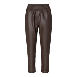 Shiloh Crop Leather Pants Brown