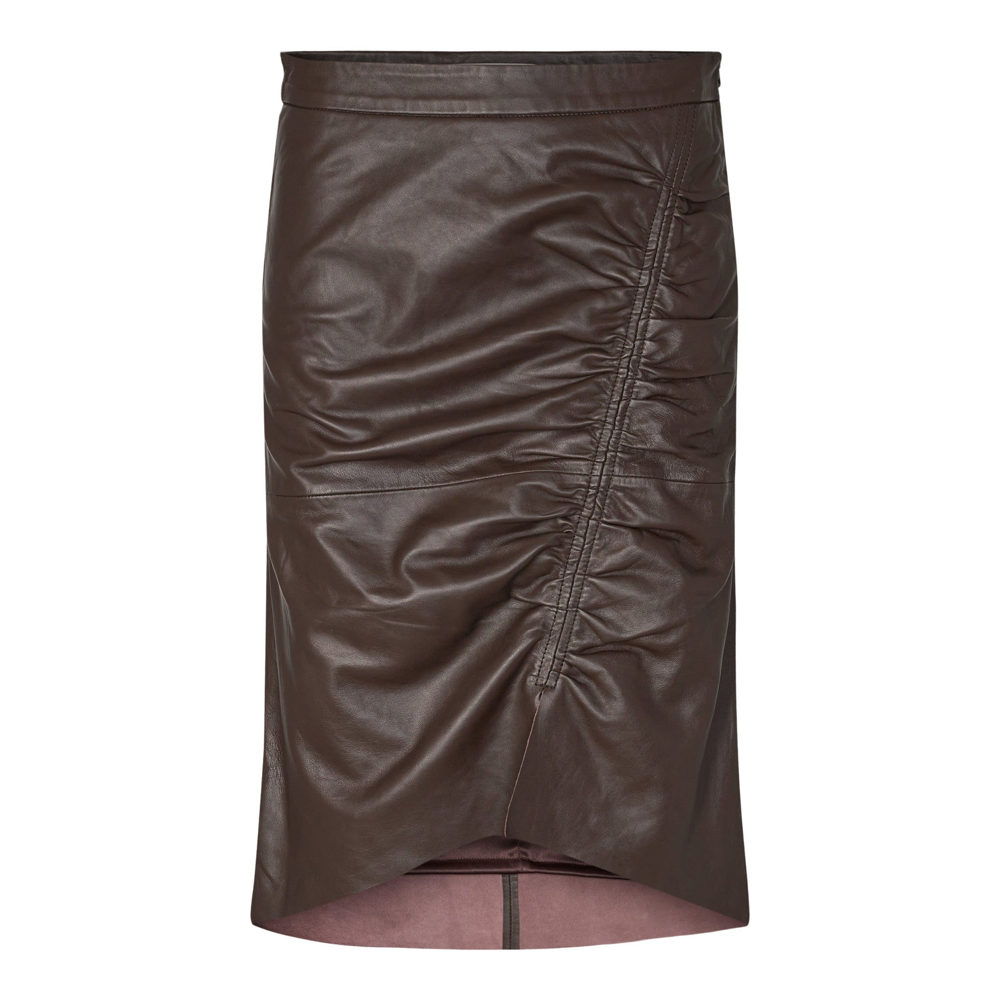 Harvie Leather Skirt Brown