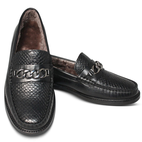 Agnello Loafers I Snake Nero