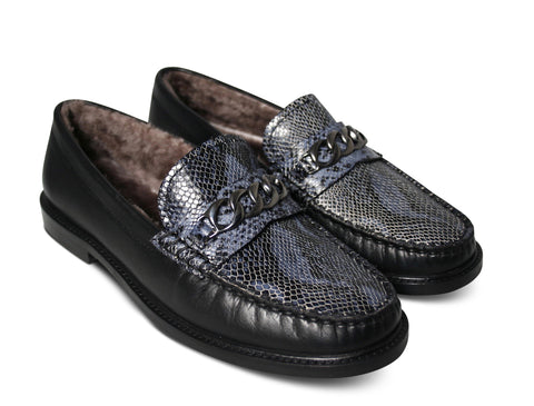 Agnello Loafers I Snake Blue