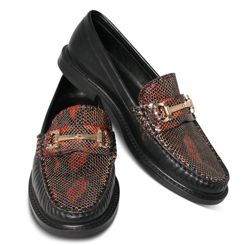 Agnello Loafers I Snake Rosso