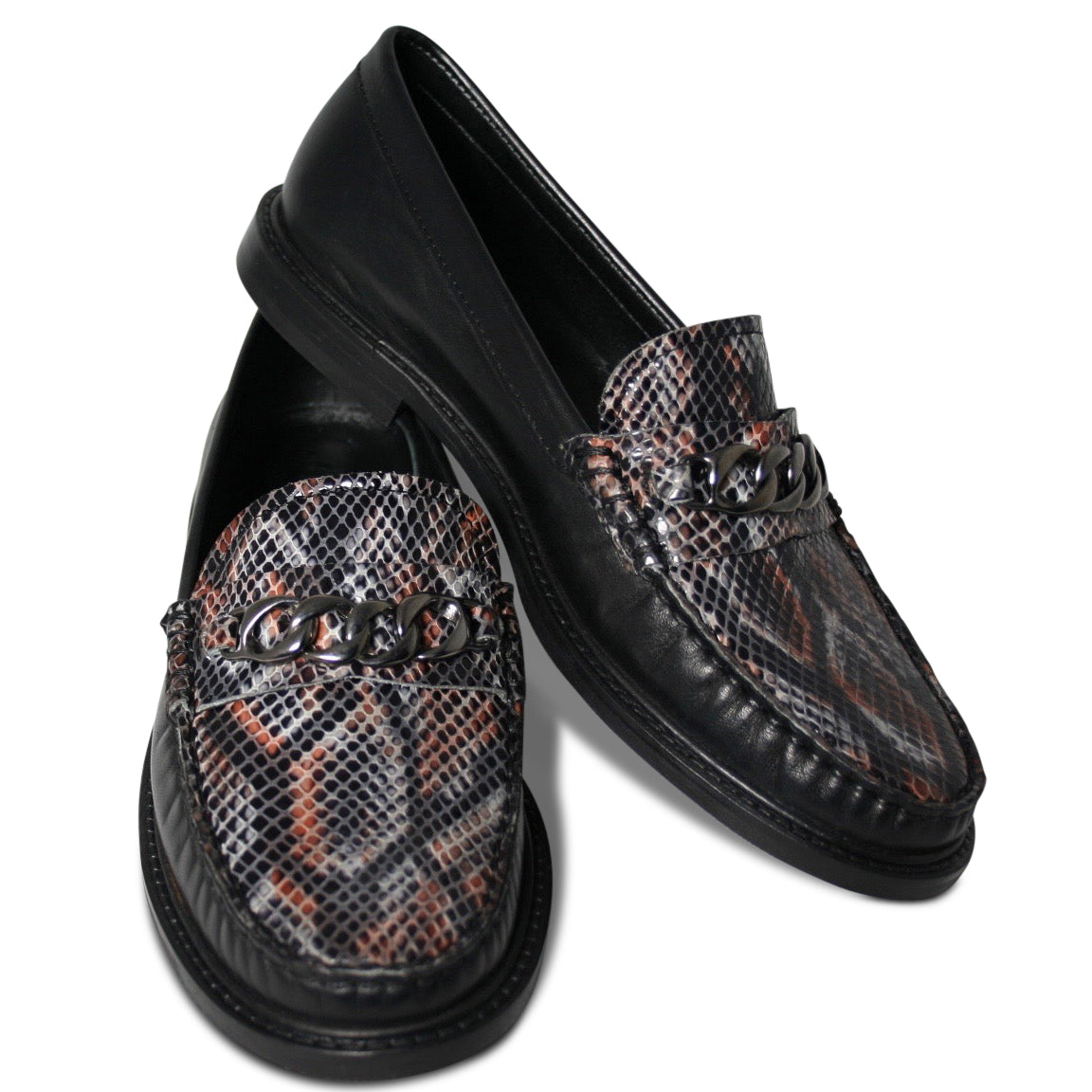 Agnello Loafers I Snake Marrone