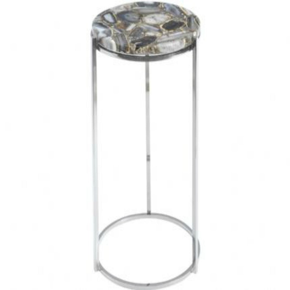 Agate Round Side Table Nickel Frame