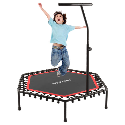 ANCHEER Mini Trampoline, Rebounder for Adults Kids Fitness with handle Bar