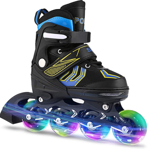 ANCHEER Inline Skates Adjustable Kids Roller Skates for Girls Boys Size 12-8