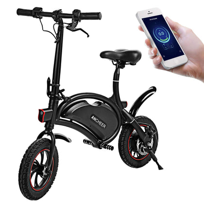 ANCHEER Folding Electric Bicycle E-Bike Scooter 350W Ebike APP Setting