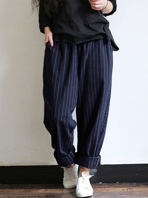 Stripes Pockets Elastic Waist Vintage Pants