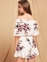 Load image into Gallery viewer, Tie Front RomperBardot Floral Print