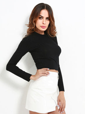 Crew Neck Ribbed Crop Tee
