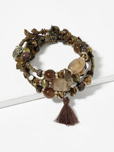 Load image into Gallery viewer, Tassel Charm Stone Layered Bracelet