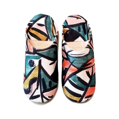 Women's Moroccan Babouche Slippers, Picasso Fabric