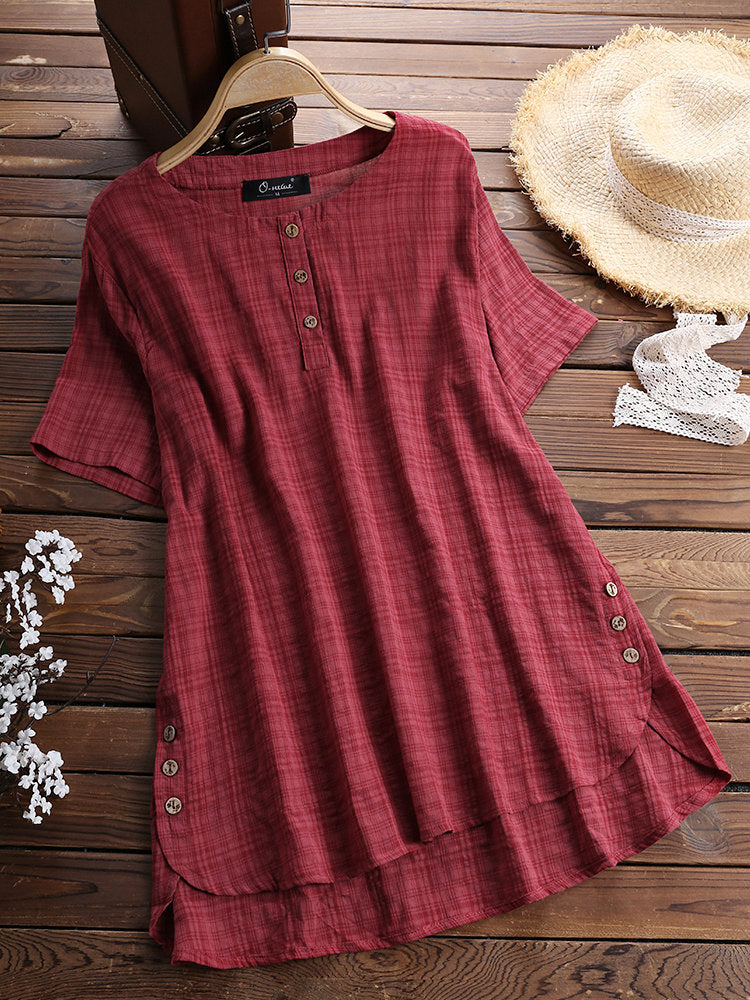 Casual Plaid Short Sleeve Irregular T-Shirt   (free shipping 7-15 business days)