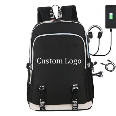 Drop shipping Backpack Schoolbag with USB Charging Port and Headphone Loptop School Bags for Teenage Girls and Boys