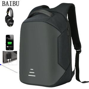 "BAIBU Men Multifunction USB Charging Headphone plug Anti-theft 15.6"" Laptop Backpack waterproof Business Large Travel Backpack"
