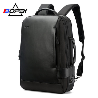 15.6 Inch USB Charging  Contractive Leather Backpack