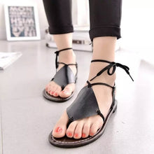 Load image into Gallery viewer, Women Vintage Sandals Leather Open Toe Cross Strap