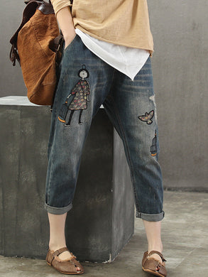 Cartoon Girl Embroidery Denim