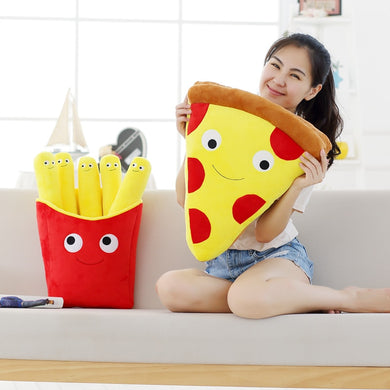 Cute Cartoon Expression Pizza, French Fries Cushions