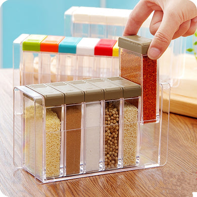 Rectangular 6 grids salt Spices & Pepper Shakers for kitchen.