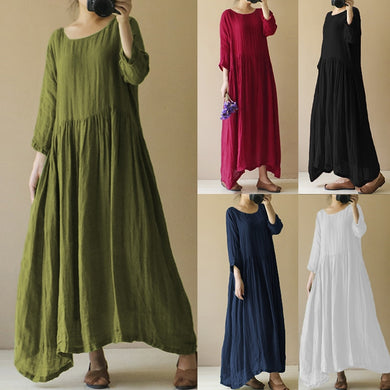 Linen Vintage  Pleated Casual Dress