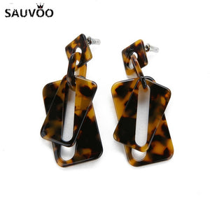 Bohemian Tortoiseshell Earrings for Women 8 Style Vintage Leopard Printed Acetate Acrylic Geometric Earring Jewelry Gift