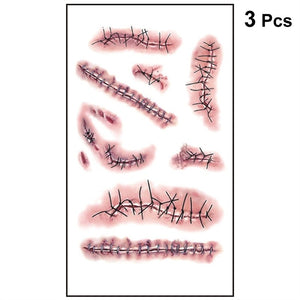 3pcs Realistic Bloody Wound Scar Temporary Tattoo Sticker Stitch Scab Props for Halloween Masquerade Cosplay