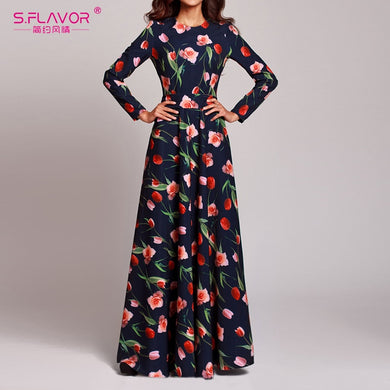 Spring Women Boho Maxi Long Dress Vintage Floral Print