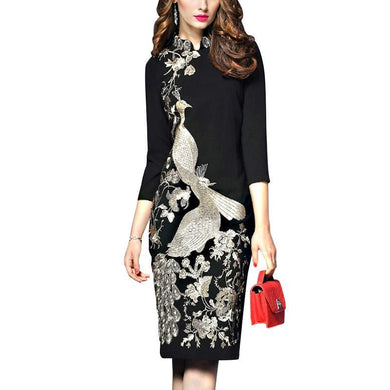 Luxury Women Floral Embroidery Black Vintage Dress