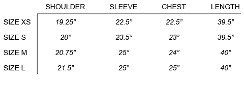 FW16 CRAIG GREEN  - WORKWEAR SHIRT SIZE CHART