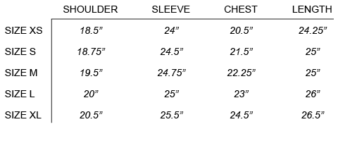 FW16 LONG JOURNEY - NASH SWEATSHIRT SIZE CHART