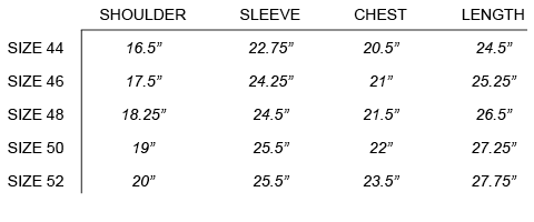 FW16 OUR LEGACY - FUNNEL BLOUSON SIZE CHART