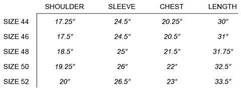 FW16 OUR LEGACY - GENERATION SHIRT SIZE CHART