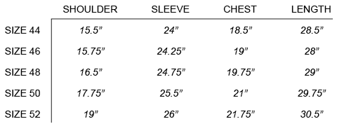 FW16 OUR LEGACY - LAB BLAZER SIZE CHART