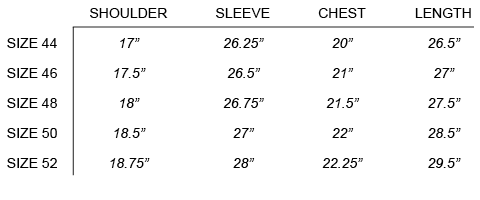 FW16 OUR LEGACY - LONGSLEEVE TEE SIZE CHART