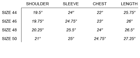 FW16 ROBERT GELLER - THE MASSIMO BOMBER SIZE CHART