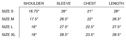 FW16 STONE ISLAND SHADOW PROJECT - PUFFER BLOUSON SIZE CHART