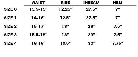 FW18 NONNATIVE - HIKER EASY PANTS SIZE CHART