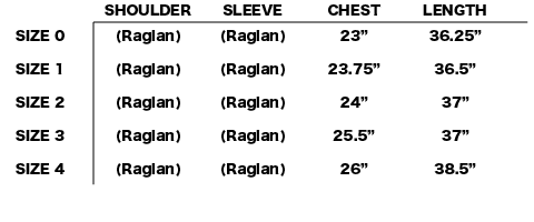 FW18 NONNATIVE - LAWYER COAT SIZE CHART