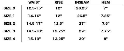 FW18 NONNATIVE - MANAGER EASY PANTS SIZE CHART