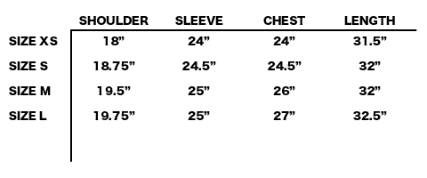 FW19 CAMIEL FORTGENS - PADDED SQUARE JACKET SIZE CHART
